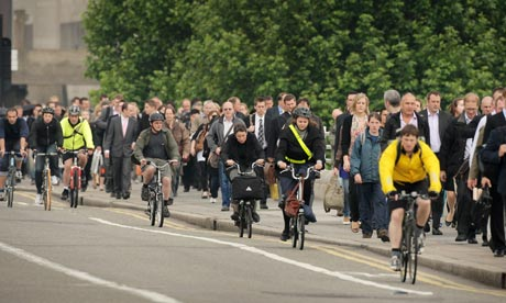 Cycling to work during tube strike in London