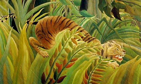 Fierce instinct for survival ... Detail from Tiger in a Tropical Storm (Surprised!) by Henri Rousseau. Photograph: Carl De Souza/AFP/Getty Images