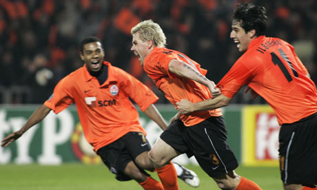 Shaktar Donetsk's Tomas Hubschman celebrates his goal in the first leg against Olympique Marseille