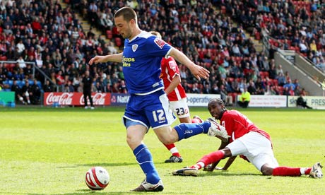 Leicester's Matty Fryatt scores the third goal of the game as Crewe were relegated from League One