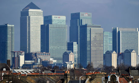 The City, London . . . Britain's finance sector contributes less to the country than manufacturing. Photograph: Andy Rain/EPA