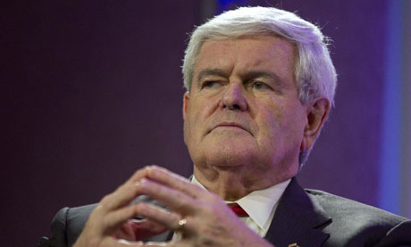 Republican presidential candidate Newt Gingrich listens to a question during the Personhood USA presidential forum in Greenville, South Carolina. Photograph: Chris Keane/Reuters