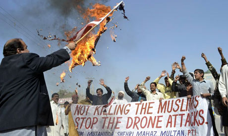 A Pakistani protest in June 2012, after two recent US drone strikes killed 12 people. Photograph: SS Mirza/AFP/Getty