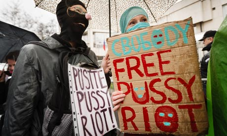 Pussy Riot supporters protest in front of the Russian embassy in Prague. Photograph: Getty Images Europe