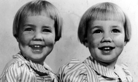 Margot Lawrence's identical twin sisters, Jenny and Gill. Gill claims Jenny kicked her on the way out of the womb. - Margot-Lawrence-s-twin-si-008