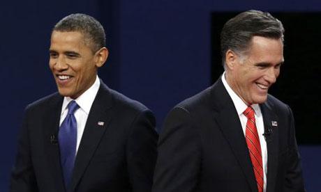 President Barack Obama walks past Republican presidential nominee Mitt Romney during the first presidential debate. Photograph: AP