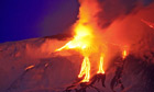 Large volcanic eruption from Mount Etna - video