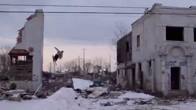 Freestyle skiers perform tricks inside Detroit's abandoned buildings - video