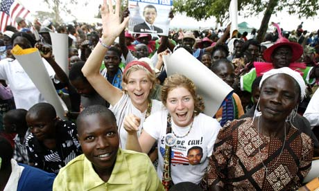 Kenya villagers obama celebrations with tourists