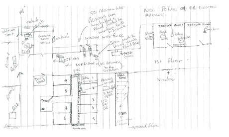 "Hand-drawn plan of the Task Force for Interrogation Cell. <b>Click on the image <a href=""http://www.guardian.co.uk/world/interactive/2011/jan/18/tfi-cell-map"">to see it in more detail</a> or view an <a href=""http://www.guardian.co.uk/world/interactive/2011/jan/18/uk-bangladesh-torture-centre-interactive"">interactive version</a></b>"