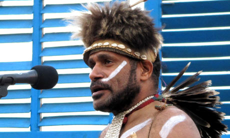 Benny Wenda performing as a singer in West Papuan ethnic dress. Photograph: Dancing Turtle Records