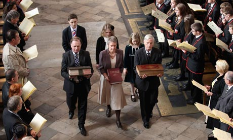 Ancient copies of the King James Bible are carried during a procession at Westminster Abbey to mark its 400th anniversary. Photograph: Chris Jackson/AFP/Getty Images