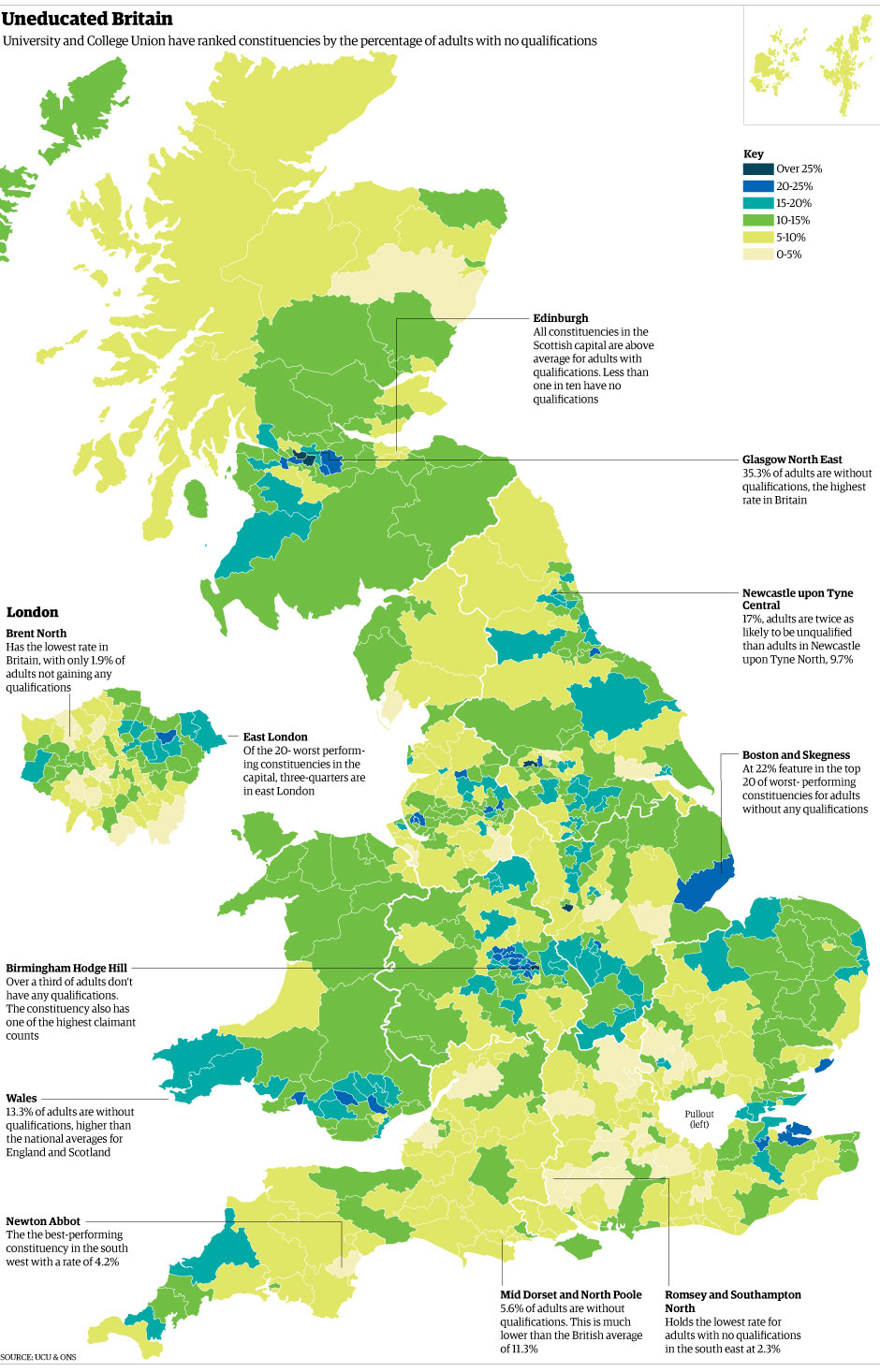 Map Of Uk Newcastle.Uneducated Britain How Does Your Constituency Compare News