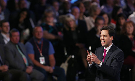 Ed Miliband held the conference hall rapt and even the enemy press emerged speaking superlatives. Photograph: Dave Thompson/PA