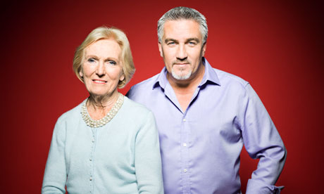 Mary Berry and Paul Hollywood photographed in London SE1.  Photograph: Pal Hansen for Observer Food Monthly