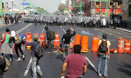 Protests in Mexico City during the inauguration of President Enrique Peña Nieto. Photograph: LatinContent /Getty Images