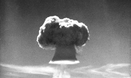 The mushroom cloud of the British H-bomb during a test at Christmas Island in the Pacific Ocean. Photograph: Popperfoto