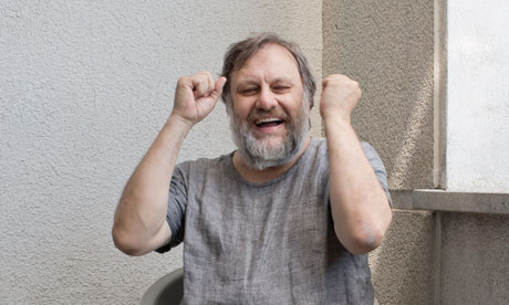 Slavoj Žižek at his home in Lubljana.  Photograph: David Levene for the Guardian