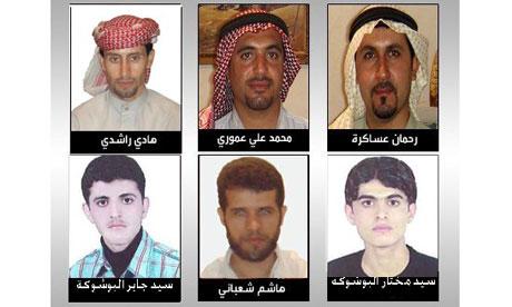 Arab prisoners from left: Hadi Rashedi, Mohammad-Ali Amori, Rahman Asakera, Mokhtar Alboshokeh, Hashem Shabani, Jaber Alboshokeh