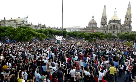 Mexicans protest against Enrique Peña Nieto's election win amid claims his PRI party bought votes and paid TV networks for support. Photograph: Ulises Ruiz Basurto/EPA