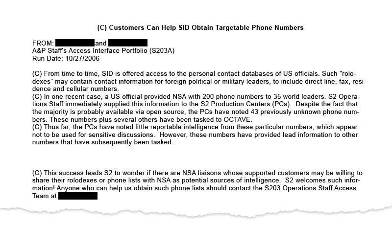 Nsa Monitored Calls Of 35 World Leaders After Us Official