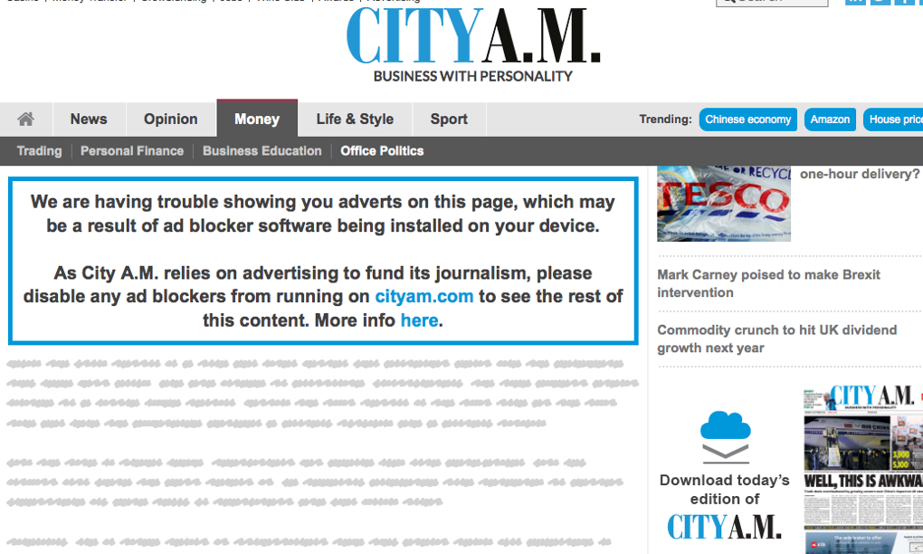 City AM adblocking