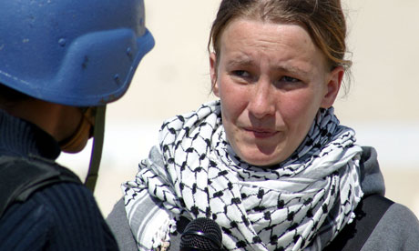Rachel Corrie in an interview with Saudi Arabian television on 14 March 2003, two days before she was killed. Photograph: Lorenzo Scaraggi/Getty Images