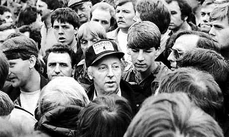 Arthur Scargill leads the miners at Orgreave
