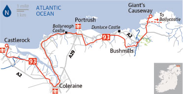 Giant\\\\'s Causeway Map Cycle route: Castlerock to Giant's Causeway | Travel | The Guardian