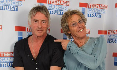 That's entertainment … Paul Weller (left) and Roger Daltrey backstage at a Teenage Cancer Trust concert this week. Photograph: PA