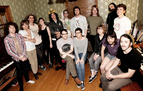 At Battle Tapes studio, Jeremy Ferguson (seated centre, in glasses) with collaborators and musicians from the Nashville scene. Bands represented here include Quichenight, Ranch Ghost, Turbo Fruits, D.Watusi, Bad Cop, Hands Down Eugene and Pujol. Photograph: Jo McCaughey