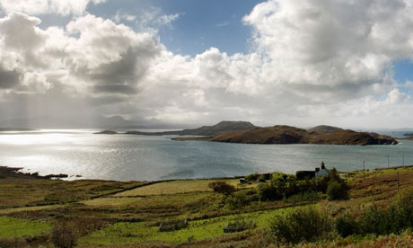 Splendid isolation: looking out from Loch Broom to the Summer Isles. Click on the magnifying glass icon to see a large version of the image. Photograph: Murdo Macleod for the Observer