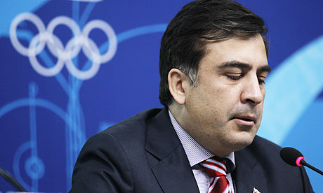 Georgia president Mikheil Saakashvili speaks during a press conference at the Vancouver 2010 Winter Olympics. Illustration: Marcio Sanchez/AP - Mikheil-Saakashvili-001